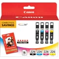 Canon CLI-226 B/C/M/Y Color Ink Cartridges w/Glossy Photo Value (4546B007), Combo 4/Pack