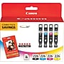 Canon CLI-226 B/C/M/Y Color Ink Cartridges w/Glossy Photo
