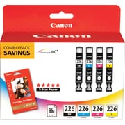 Canon CLI-226 B/C/M/Y Color Ink Cartridges & Photo Paper (4546B007), Combo 4/Pack