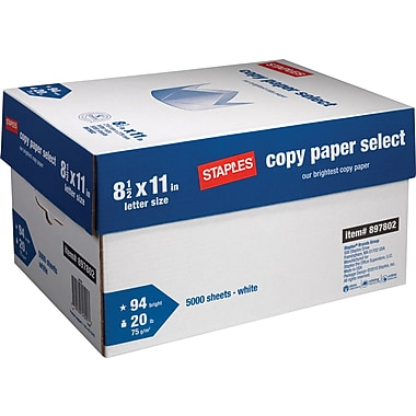 Staples Copy Paper Select, 8 1/2in. x 11in., Case