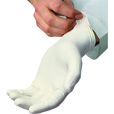 Ambitex Latex Disposable Powder-Free Gloves, Medium, Cream, 100/Box
