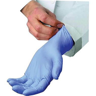Ambitex® Powdered Disposable Nitrile Gloves, Light Blue, Medium