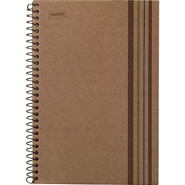 Staples Sustainable Earth 1-Subject Wirebound Notebook, Brown, 8-1/2