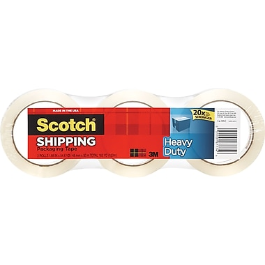 Scotch® Heavy-Duty Packaging Tape, Clear, 1.88in. x 54.6 yds, 3 Rolls