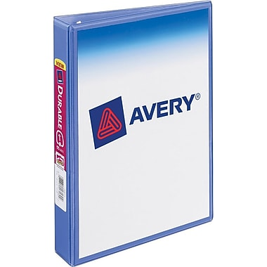 1in. Avery® 5-1/2in. x 8-1/2in. Durable Mini View Binder with Round Rings, Periwinkle