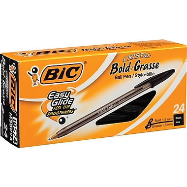 BIC® Cristal® Ballpoint Stick Pens, Bold Point, 24/Box