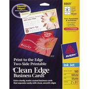 Avery® Clean Edge Inkjet Print to the Edge Business Cards, White, Matte Finish, 160/Pack