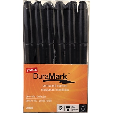 Staples® Duramark™ Permanent Marker, Fine Point, Black, Dozen