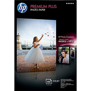 HP Premium Plus Photo Paper, 4in. x 6in., Borderless, Glossy, 100/Pack