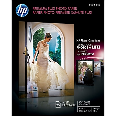 HP Premium Plus Photo Paper, 8 1/2in. x 11in., Soft Gloss, 25/Pack