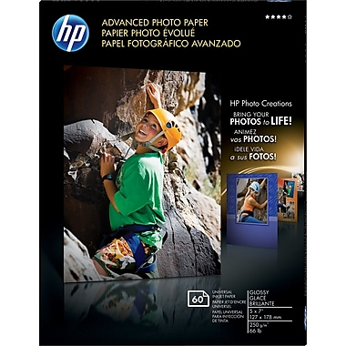 HP Advanced Photo Paper, 5in. x 7in., Glossy, 60/Pack