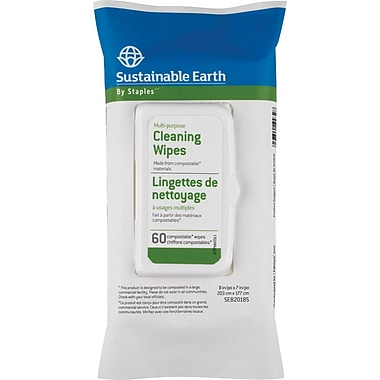 Sustainable Earth by Staples® Multipurpose Cleaning Wipes, 60 Wipes/Pack