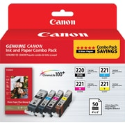 Canon PGI-220 Black and CLI-221 C/M/Y Color Ink Cartridges & Photo Paper (2945B011), Combo 4/Pack