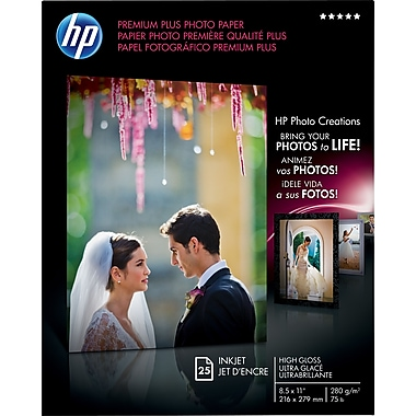 HP Premium Plus Photo Paper, 8 1/2in. x 11in., High Gloss, 25/Pack