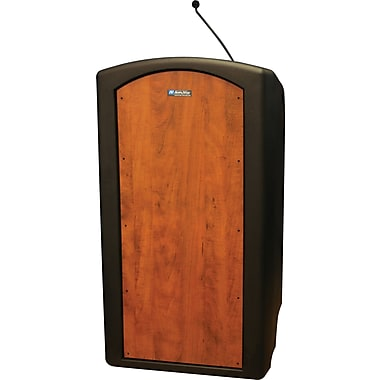 Amplivox Pinnacle Full Height Lectern with Built-in Dynamic Gooseneck Mic (Cherry)