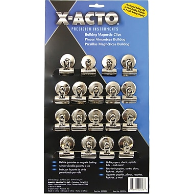 Bulldog Magnetic Clips, Steel, 1-1/4in.w, Nickel-Plated, 18/Box