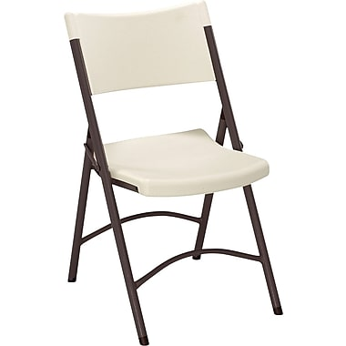 Sudden Comfort Blow Mold Textured Folding Chair, Cream/Mocha, 4/Pack