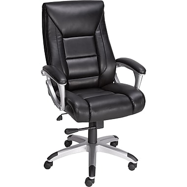 Staples Karston Bonded Leather Mid-Back Managers Chair, Black