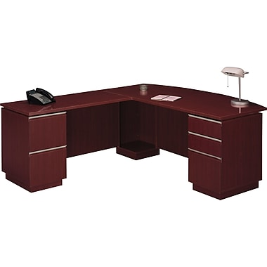 Bush Milano2 72in.W LH Double Pedestal L-Desk (F/F, B/B/F), Harvest Cherry, Fully Assembled