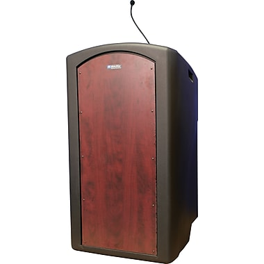 Amplivox Pinnacle Full Height Lectern with Built-in Dynamic Gooseneck Mic (Mahogany)