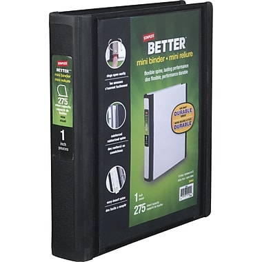 1in. Staples® Better® 5-1/2in. x 8-1/2in. Mini View Binder with D-Rings, Black