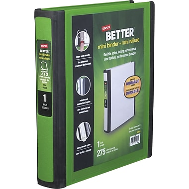 1in. Staples® Better® 5-1/2in. x 8-1/2in. Mini View Binder with D-Rings, Green