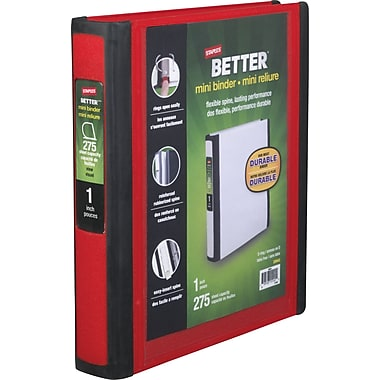 1in. Staples® Better® 5-1/2in. x 8-1/2in. Mini View Binder with D-Rings, Red