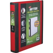 1 Staples® Better® 5-1/2 x 8-1/2 Mini View Binder with D-Rings, Red