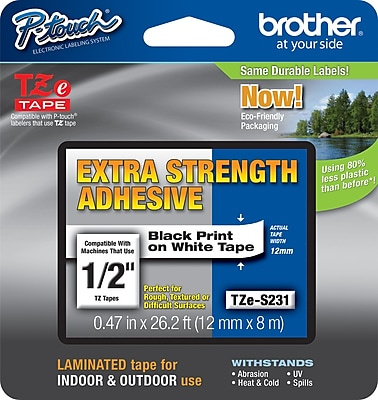 Brother Tze S231 1 2 P Touch Label Tape Black on White