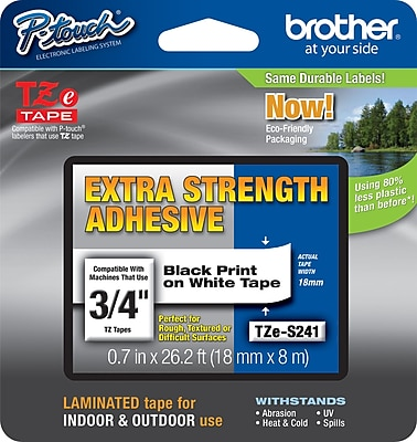 Brother TZe S241 3 4 P Touch Label Tape with Extra Strength Adhesive Black on White