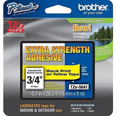Brother® TZe-S641 P-Touch® Label Tape, 3/4in. Black on Yellow with Extra Strength Adhesive
