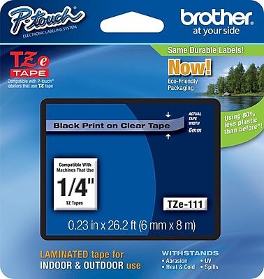 Brother TZe 111 1 4 P Touch Label Tape Black on Clear