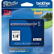 "Brother TZe-111 1/4"" P-Touch Label Tape, Black on Clear"