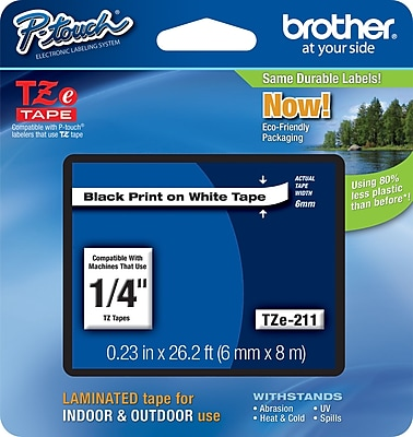 Brother TZe 211 1 4 P Touch Label Tape Black on White