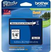 "Brother TZe-211 1/4"" P-Touch Label Tape Black on White"
