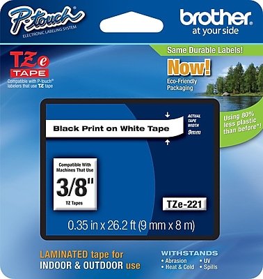 Brother TZe 221 3 8 P Touch Label Tape Black on White