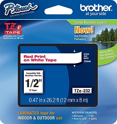 Brother TZe 232 1 2 P Touch Label Tape Red on White