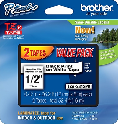 Brother TZe 2312PK 1 2 P Touch Label Tape Black on White 2 Pack