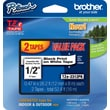 Brother TZe-2312PK P-Touch Label Tape, 1/2in. Black on White, 2/Pack