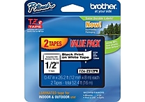 Brother TZe-2312PK 1/2' P-Touch Label Tape, Black on White, 2/Pack