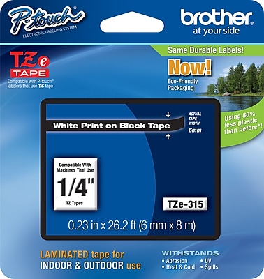 Brother TZe 315 1 4 P Touch Label Tape White on Black