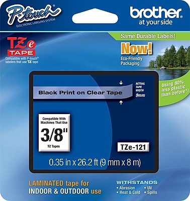 Brother TZe 121 P Touch 3 8 abel Tape Black on Clear