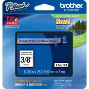 "Brother TZe-121 P-Touch 3/8"" Label Tape, Black on Clear"