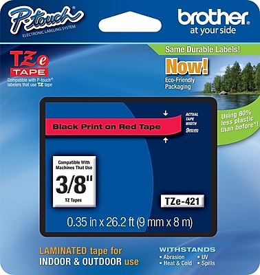 Brother TZe 421 3 8 P Touch Label Tape Black on Red
