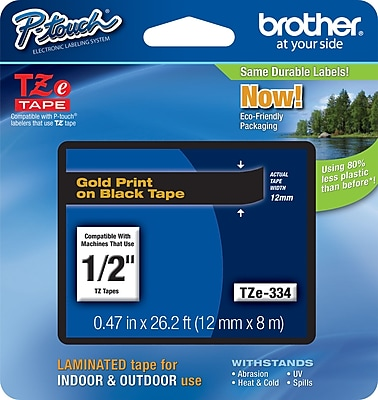 Brother TZe 334 1 2 P Touch Label Tape Gold on Black