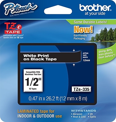 Brother TZe 335 1 2 P Touch Label Tape White on Black