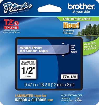 Brother TZe 135 1 2 P Touch Label Tape White on Clear