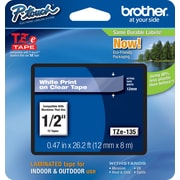 Brother® TZe-135 P-Touch® Label Tape, 1/2 White on Clear