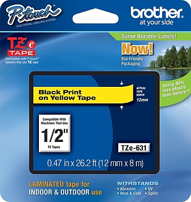 Brother P Touch TZe 631 1 2 abel Tape Black on Yellow