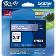 "Brother Tze-145 3/4"" P-Touch Label Tape, White on Clear"